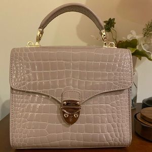 Aspinal Midi Mayfair Bag in soft taupe croc
